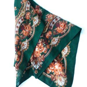 Vintage Green & Orange Floral Scarf